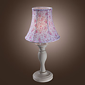 40W Natural Inspireret Table Light med Floral Fabric Mønster Shade