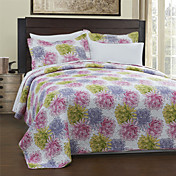 3PCS Daisy Pattern Cotton Königin Quilt Set