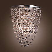 1W  Stainless Steel Plate Wall Light with Shade in Crystal Drops