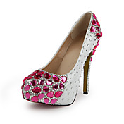 Fashion Patent Leather Stiletto Heel Round Toe With Fuchsia Rhinestone Party / Evening Shoes