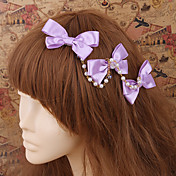 Handmade Violet Satin Bow Pays Lolita Coiffure