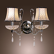 80W Modern Wall Light with Chandelier Feature Arm and 2 Pleated Fabric Shades in Crystal Plate Design