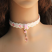 Main en dentelle douce Collier Lolita rose et blanc