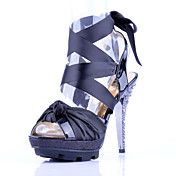 Stylish Patent Leather Stiletto Heel Sandals With Ribbon Tie Party / Evening Shoes(More Colors)