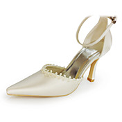 Satin Upper High Heel Closed-toes With Beading Wedding Bridal Shoes