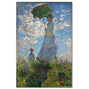 Woman with a Parasol - Madame Monet and Her Son by Claude Monet Famous Art Print