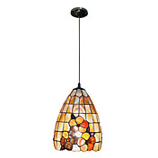 80W clssico Tiffany Pendant Light com a Natureza Shell Material Integrado Sombra Down in Pattern Flora