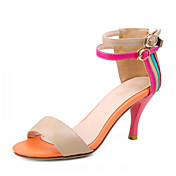 Couro salto agulha sandlias Multi-color Com Ankle-Strap partido / sapatas da noite