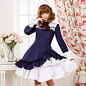 Met lange mouwen knie-lengte Pure Color Cotton Classic Lolita Dress