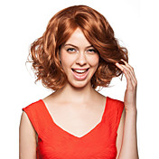 Hand Tied Style Lace Front Medium Length Synthetic Golden Brown Curly Hair Wig