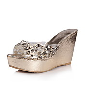 Fashion Plastic Wedge Heel Slippers With Rhinestone Party/Evening Shoes(More Colors)