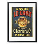 Ingelijste kunstdruk Vintage Savon Le Chat door Vintage Apple Collection
