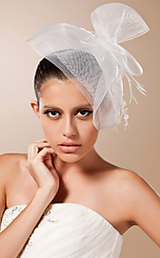 Tulle With Beading/ Feather Wedding Bridal Veil/ Headpiece