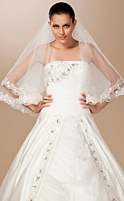 One-tier Tulle Lace Applique Edge Elbow Wedding Veil With Embroidery