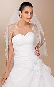 Two-tier Tulle Scalloped Edge Elbow Wedding Veil With Sequin