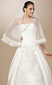 One-tier Tulle Pencil Edge Elbow Wedding Veil With Ruffles