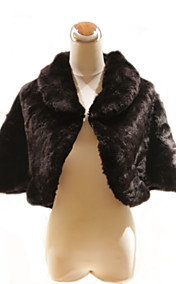 Elegant 3/4-Length Sleeves High Neck Faux Fur Special Occasion Jacket / Wrap