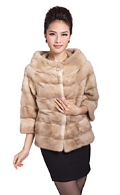 Elegant 3/4 Sleeve Collarless Evening/Casual Mink Coat