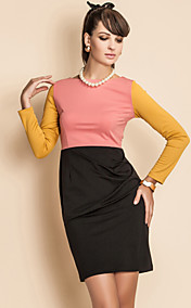 TS Contrast Color Long Sleeve Jersey Sheath Dress