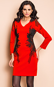 TS Handmade Cording Embroidery Quarter Sleeve Jersey Dress