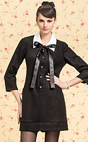 TS VINTAGE Contrast Bow Collar A Line Pleats Back Tweed Dress