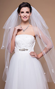 4 Layers Fingertip Wedding Veils With Cut Edge (More Colors)