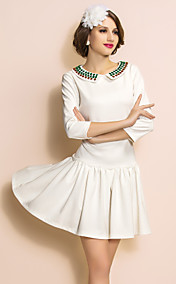 TS VINTAGE Beads Collar Quarter Sleeve Swing Dress