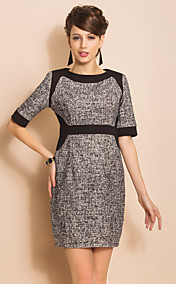 TS Contrast Color Short Sleeve Sheath Tweed Dress