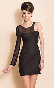 ts mesh splejsning ene skulder mellemgulv bodycon dress