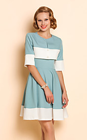 TS Contrast Color Pleats 1/2 Sleeve Dress