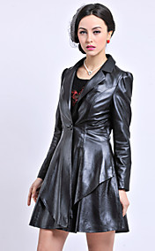 Long Sleeve Turndown Collar Sheepskin Casual/Party Coat