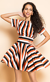 TS Stripes Slim Waist Swing Dress