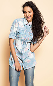 TS Flora Print Shirt Style Denim Blouse