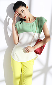 Contraste Cor Blouse Sleeveless TS