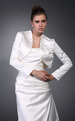 Long Sleeves Satin Bridal Jacket/ Wedding Wrap