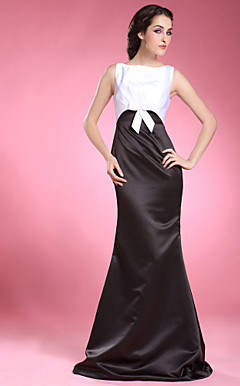 Trumpet/ Mermaid Bateau Floor-length Satin Mother of the Bride Dress