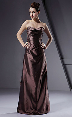 Sheath/ Column Strapless Floor-length Taffeta Bridesmaid/ Wedding Party Dress