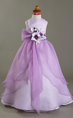 A-line Scoop Floor-length Satin Organza Flower Girl Dress