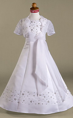 A-line Spaghetti Straps Floor-length Organza And Satin Flower Girl Dress With A Wrap