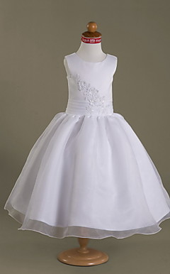 Ball Gown Scoop Tea-length Satin Organza Flower Girl Dress