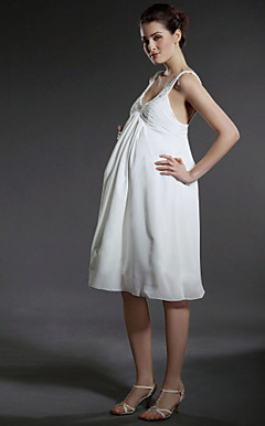 Empire Scoop Knee-length Chiffon Maternity Wedding Dress With Beaded