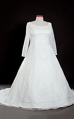 A-line Square Chapel Train Lace Plus Size Wedding Dress