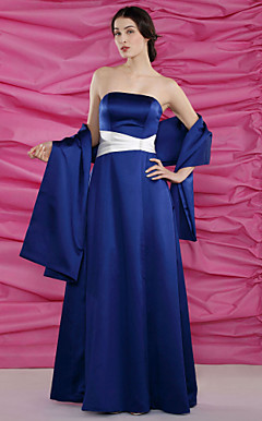 A-line Strapless Floor-length Satin Mother of the Bride Dress With A Wrap