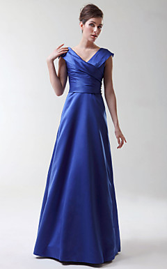 A-line Princess V-neck Floor-length Stretch Satin Bridesmaid/Wedding Party Dress