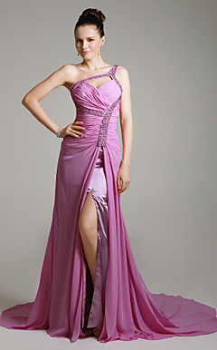 Chiffon Column One Shoulder Evening Dress with Removable Train inspired by Afef Jnifen at Venice Film Festival