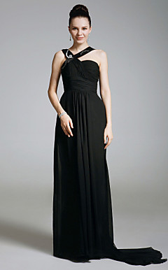 Chiffon Sheath/ Column Sweep/Brush Train Evening Dress inspired by Sex and the City