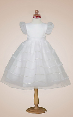 Ball Gown Bateau Tea-length Satin Organza Flower Girl Dress