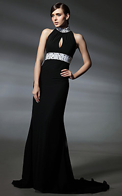 Elastic Woven Satin Trumpet/ Mermaid High Neck Court Train Evening Dress inspired by Kim Cattrall in Sex and the City