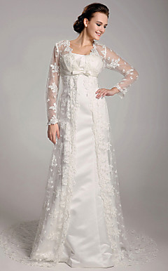Sheath/Column Court Train Satin Lace Wedding Dress
