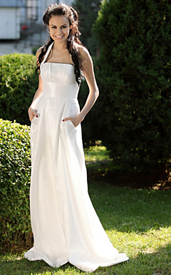 Sheath/ Column Halter Sweep/ Brush Train Taffeta Wedding Dress